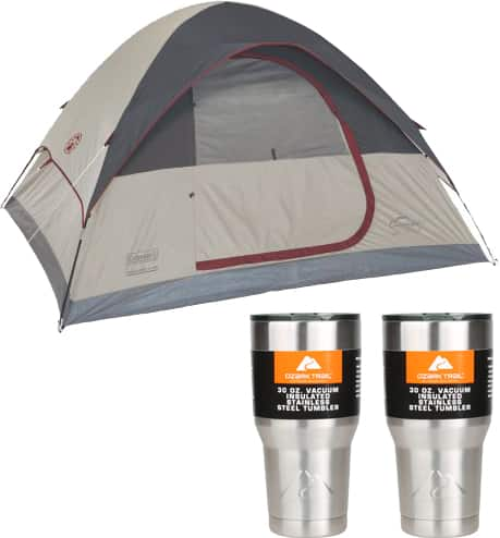 Coleman Highline 4-Person Dome Tent + 2-Ct 30oz Ozark Trail Tumblers