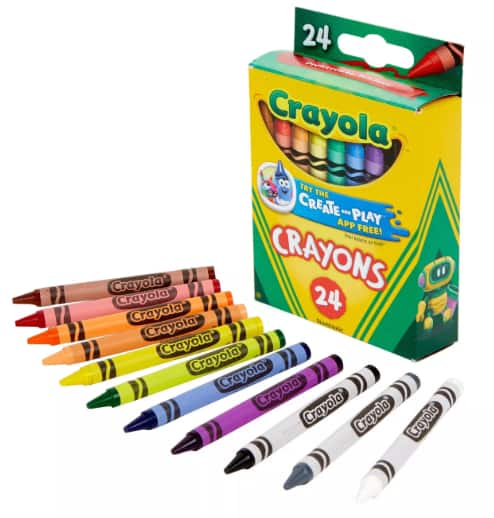 Crayola: 10-Ct Markers (broad or fine line) $1, 12-Ct Colored Pencils $1, 24-Ct Crayons