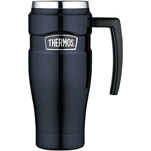Thermos King Stainless Steel 16 Ounce Travel Mug with Handle, Midnight Blue