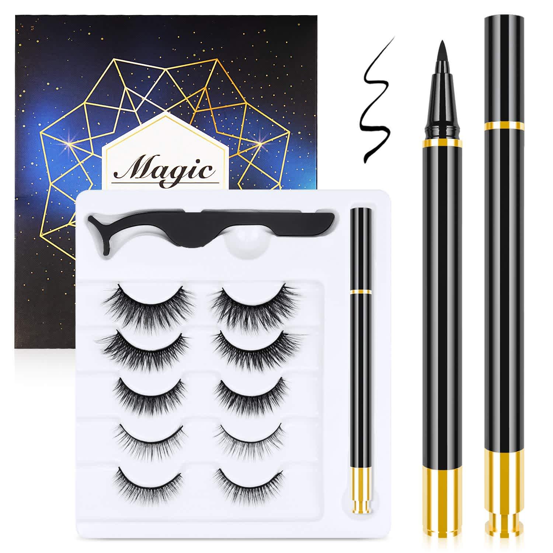 Malanzs Magnetic Eyelashes and Magnetic Eyeliner Kit 5-Pack