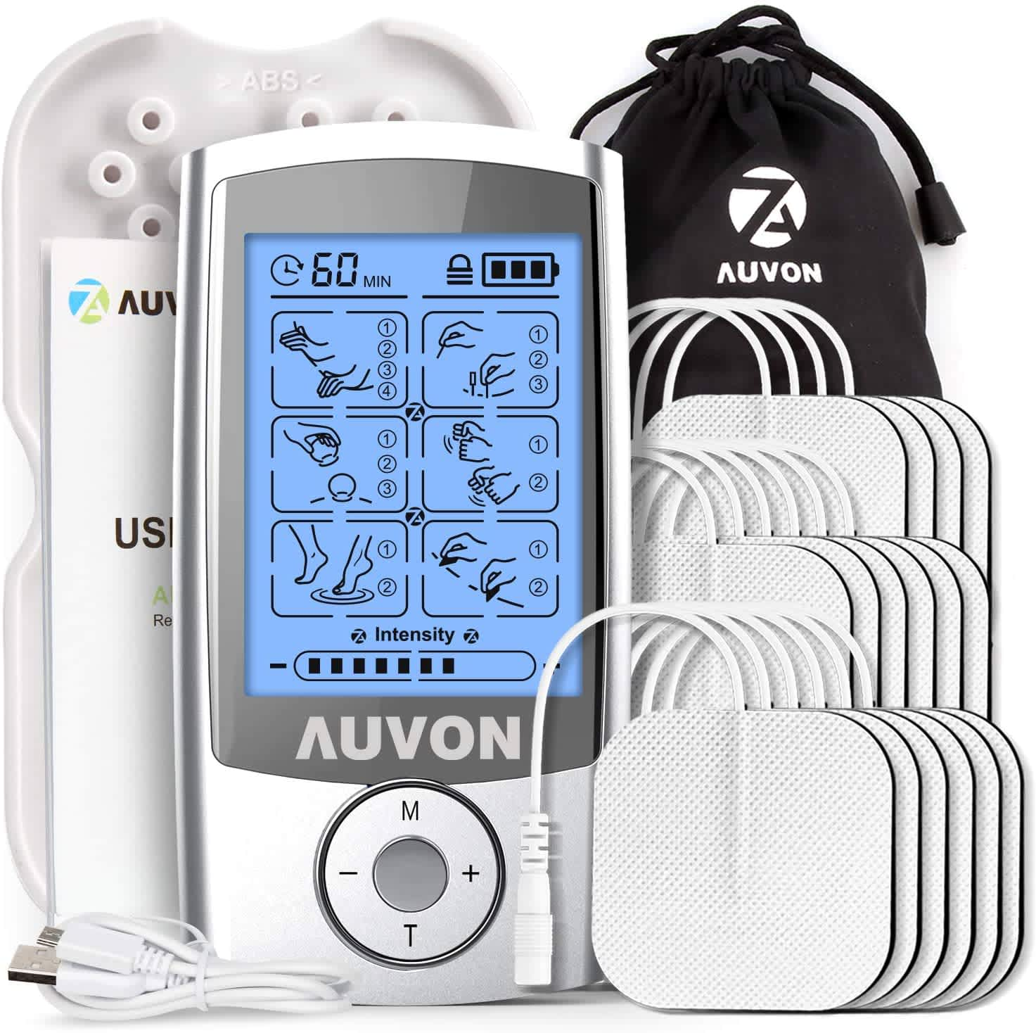 Auvon Rechargeable TENS Unit Muscle Stimulator with 16 Pads