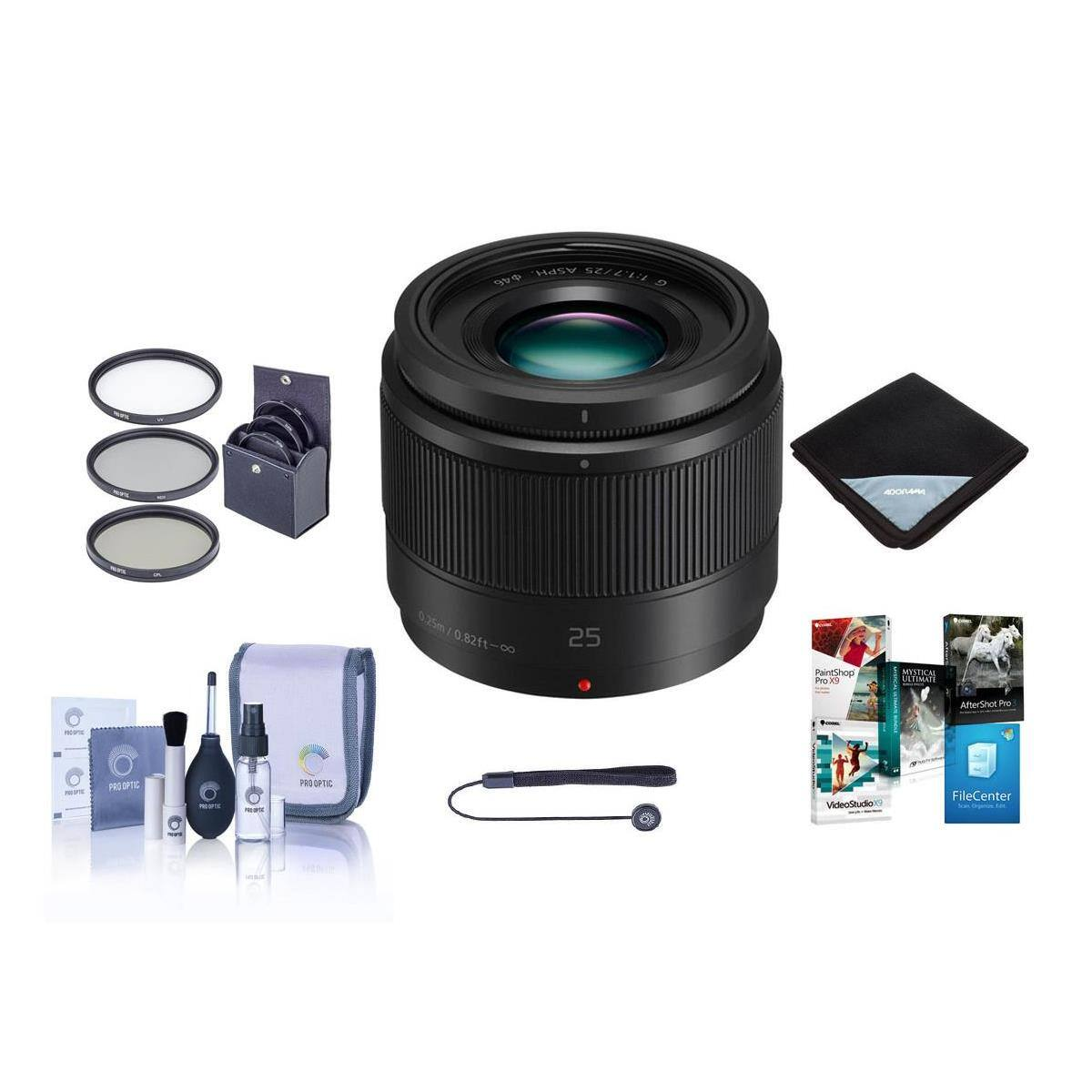 Panasonic 25mm f/1.7 Lumix G Aspherical Lens for Micro 4/3 System Bundle