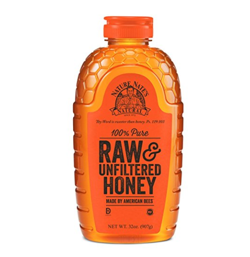 Nature Nate's 100% Pure Raw & Unfiltered Honey; 32-oz. Squeeze Bottle; Certified Gluten Free and OU Kosher Certified; Enjoy Honey's Balanced Flavors