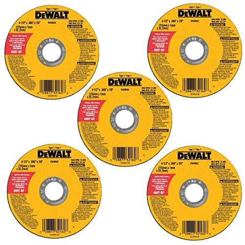 """DeWalt 4-1/2"""" Metal and Stainless Cutting Wheel 5-Pack"""