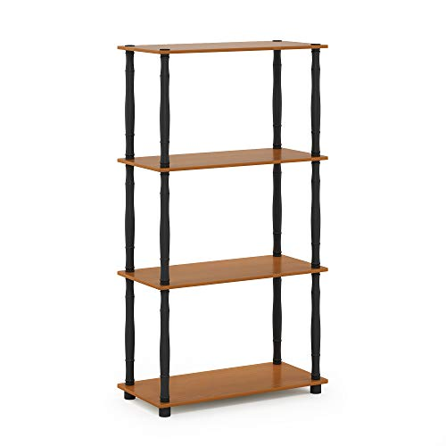 Furinno Turn-N 4-Tier Multipurpose Shelf Display Rack with Classic Tubes, Light Cherry/Black