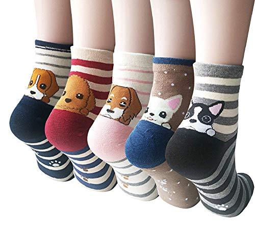 超级可爱卡通猫狗图案棉袜,五双只要一双的价