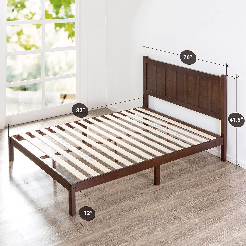 史低价!Zinus 木制床架,带床头板,King Size