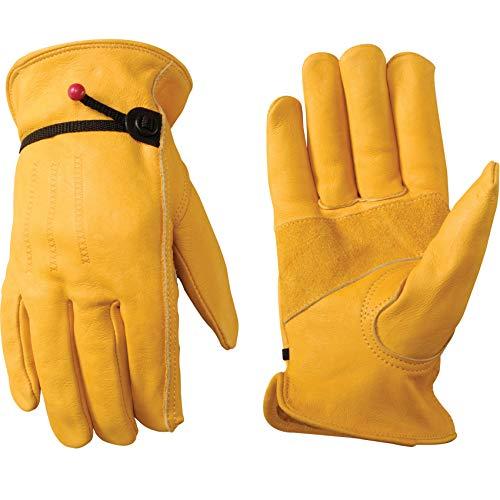 Men's Leather Work Gloves with Adjustable Wrist, Large (Wells Lamont 1132L),Saddle tan