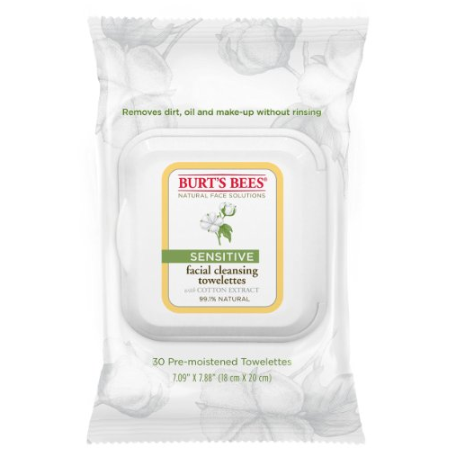 Burt's Bees 小蜜蜂 敏感肌肤面部清洁湿纸巾,30张