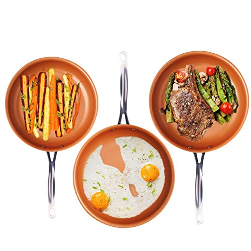 "Gotham Steel 1402 3-Piece Nonstick Frying Pan Set, 9.5""/+11""/+12.5"", Brown"