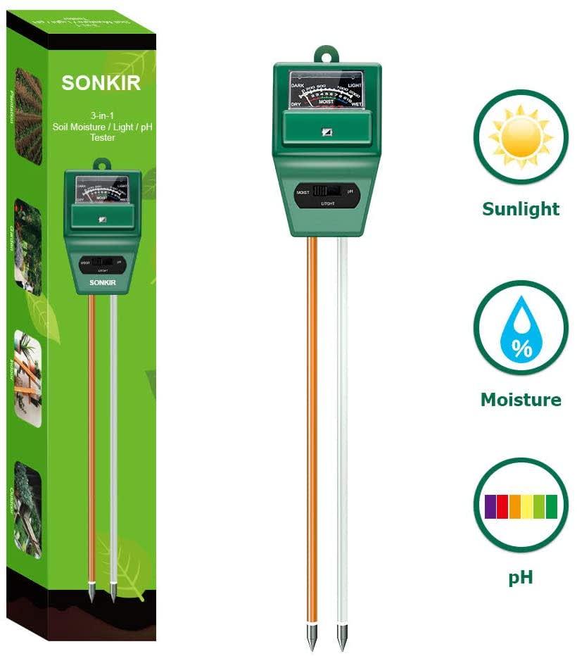 Sonkir 3-in-1 Soil Moisture/Light/pH Tester