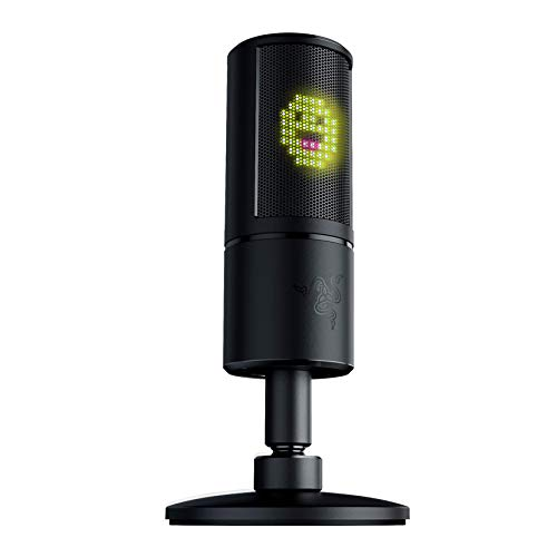 Razer Seiren Emote Streaming Microphone: 8-bit Emoticon LED Display - Stream Reactive Emoticons - Hypercardioid Condenser Mic - Built-in Shock Mount - Height & Angle Adjustable Stan