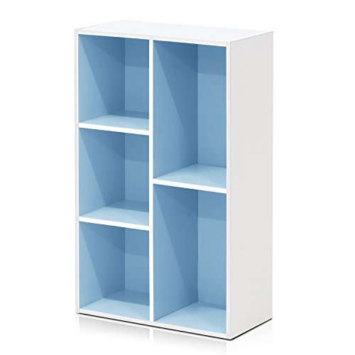 Furinno 5-Cube Reversible Open Shelf, White/Light Blue 11069WH/LBL