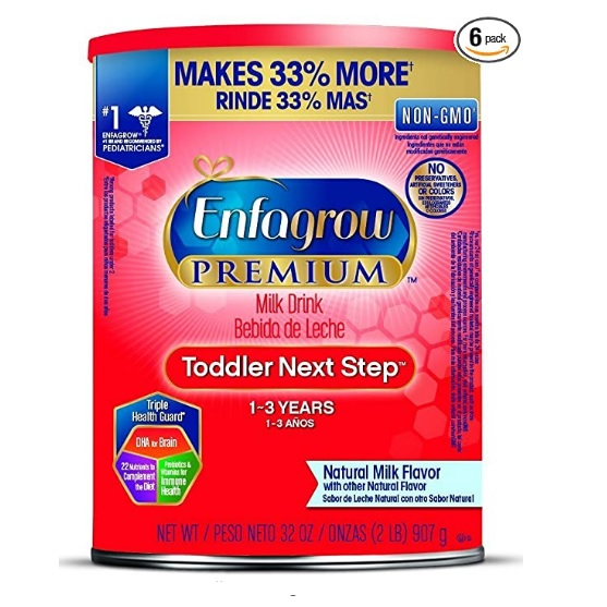 Enfagrow Premium Omega 3 DHA Prebiotics Non-GMO (Formerly Toddler Next Step) Toddler Nutritional Milk Drink, Natural Milk Flavor Powder 32 Oz. Can (Includes 6 Cans)