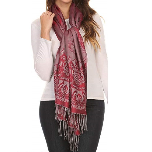 Sakkas 16115 - Kendall Long Extra Wide Floral Paisley Patterned Pashmina Shawl/Scarf - Red/Grey - OS