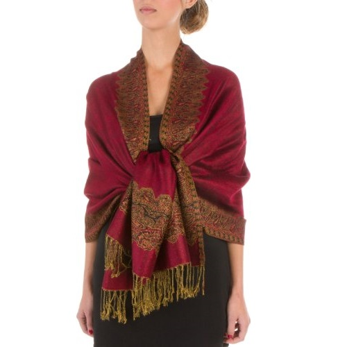 "Sakkas 70"" x 28"" Border Pattern Layered Woven Pashmina Shawl Scarf Wrap Stole"
