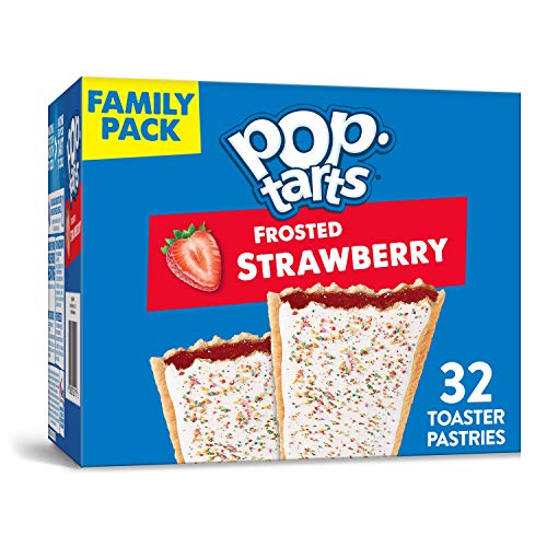 Pop-Tarts, Breakfast Toaster Pastries, Frosted Strawberry, Proudly Baked In the USA, Family Pack, (32 Count of 1.69 oz Pastries) 54.1 oz