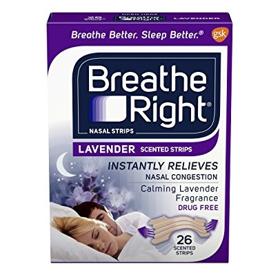Breathe Right Calming Lavender Scented Drug-Free Nasal Strips for Nasal Congestion Relief 26 count