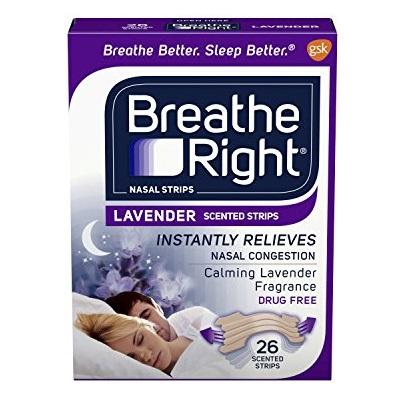 Breathe Right 鼻舒乐 成人鼻塞通气鼻贴/止鼾贴,薰衣草香味,26贴