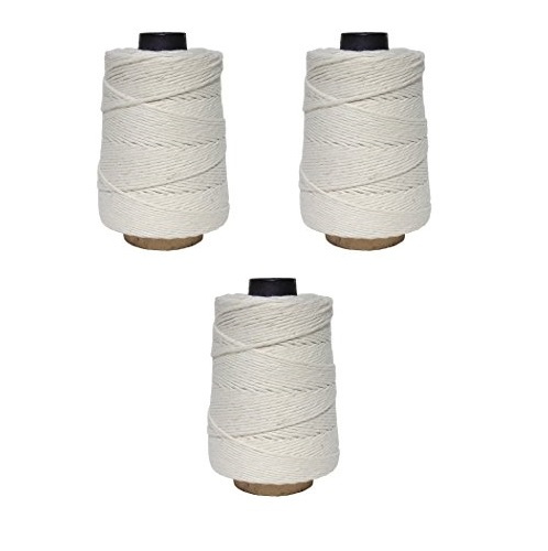 Regency Wraps 500 ft Natural Cooking Butcher's Twine 500ft Cone for Meat Prep & Trussing Turkey, 100% Cotton, 16 Ply, 3-Pack, White