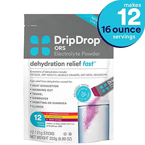 DripDrop ORS - Patented Electrolyte Powder for Dehydration Relief fast - For Heat Exhaustion, Hangover, Illness, Sweating & Travel Recovery, Variety Pack, 12Count