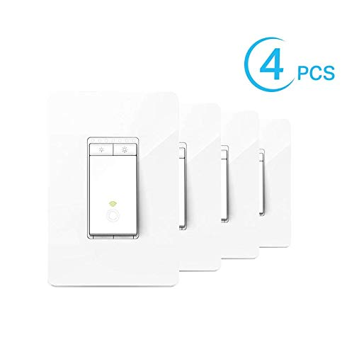 Kasa Smart Dimmer Switch by TP-Link, Single Pole, Needs Neutral Wire, WiFi Light Switch for LED Lights, Works with Alexa and Google Home, UL Certified, 4-Pack (HS220P4)