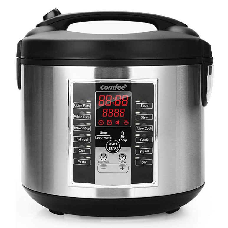 COMFEE' Rice Cooker, Slow Cooker, Steamer, Stewpot, Sauté All in One (12 Digital Cooking Programs) Multi Cooker with 20 cups cooked rice (5.2Qt) Large Capacity.
