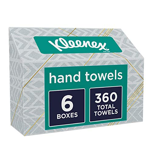 Kleenex Hand Towels, Single-Use Disposable Paper Towels, 6 Boxes, 60 Towels Per Box (360 Towels Total)