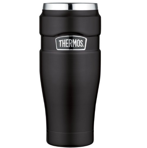 Thermos Stainless Steel King 16 Ounce Travel Tumbler, Matte Black
