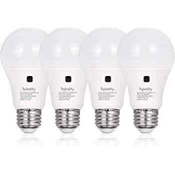 4-Pack Hykolity Dusk to Dawn 9W A19 LED Light Bulbs (5000K Daylight)