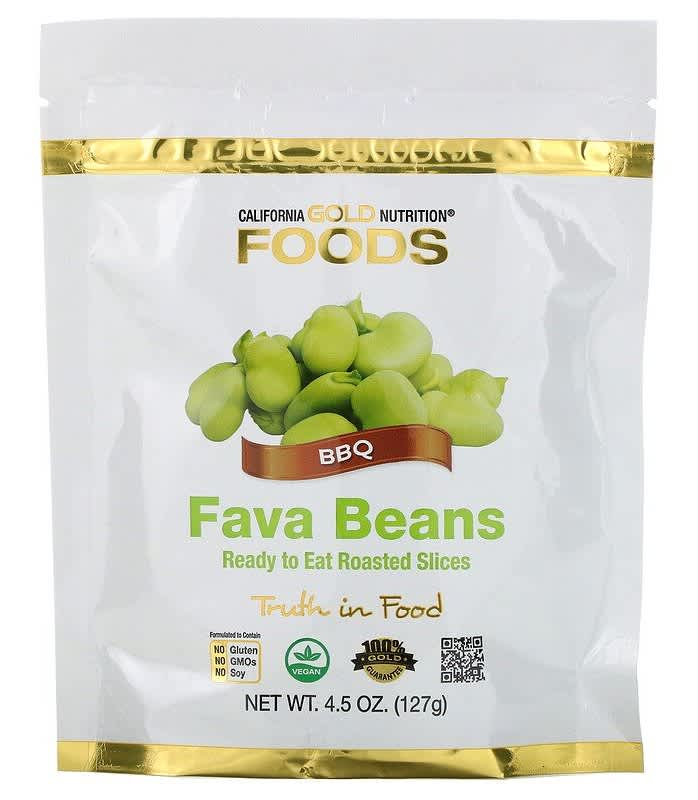 California Gold Nutrition Fava Beans Ready-to-Eat Roasted Slices 4.5-oz. Bag