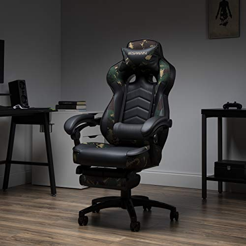 RESPAWN RSP-110-FST Reclining Gaming Chair with Footrest, Forest Camo