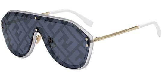Fendi Men's Fabulous Shield w/ Blue Decor Lens Sunglasses