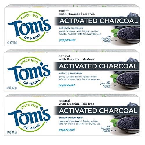 史低价!Tom's of Maine 活性炭薄荷味牙膏,4.7 oz/支,共3支