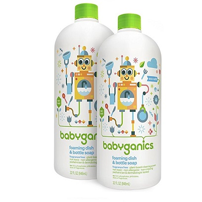 Babyganics Foaming Dish & Bottle Soap , Fragrance Free, 32oz, 2 Pack