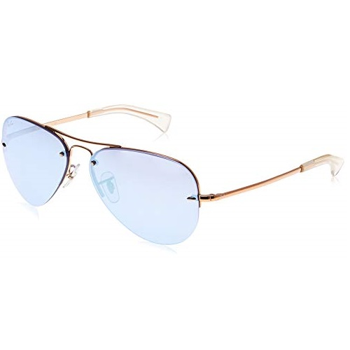 Ray-Ban RB3449 Aviator Sunglasses, Copper/Violet Mirror, 59 mm