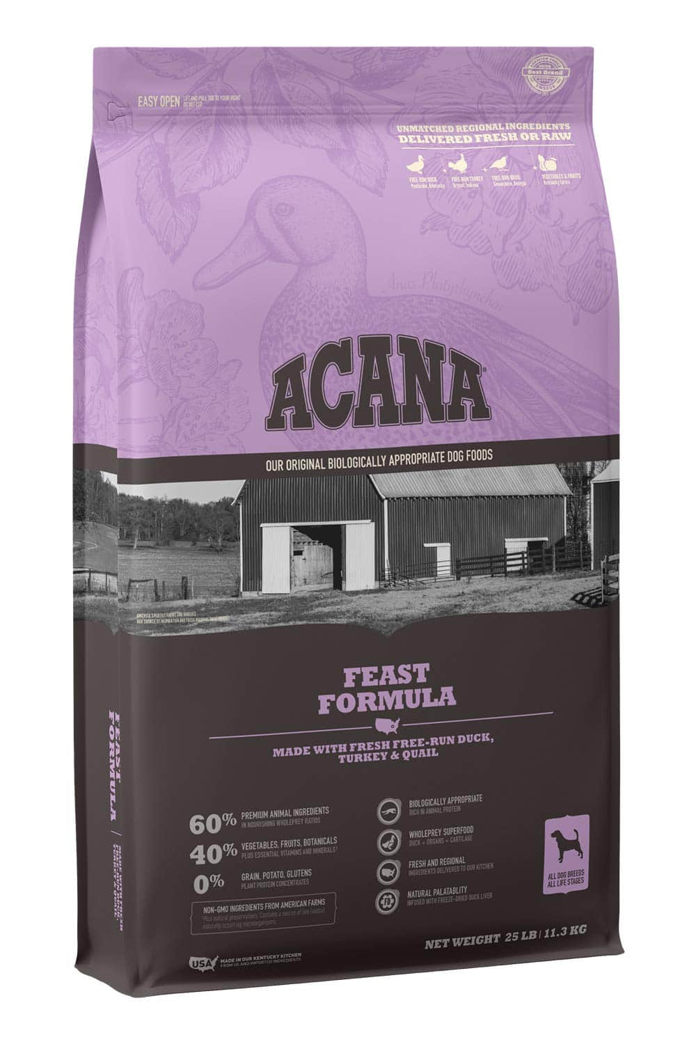 25lb ACANA Real Meat Grain Free Adult Dry Dog Food (Feast)