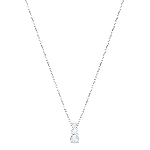 SWAROVSKI Women's Attract Trilogy Round Pendant, White, Rhodium plated