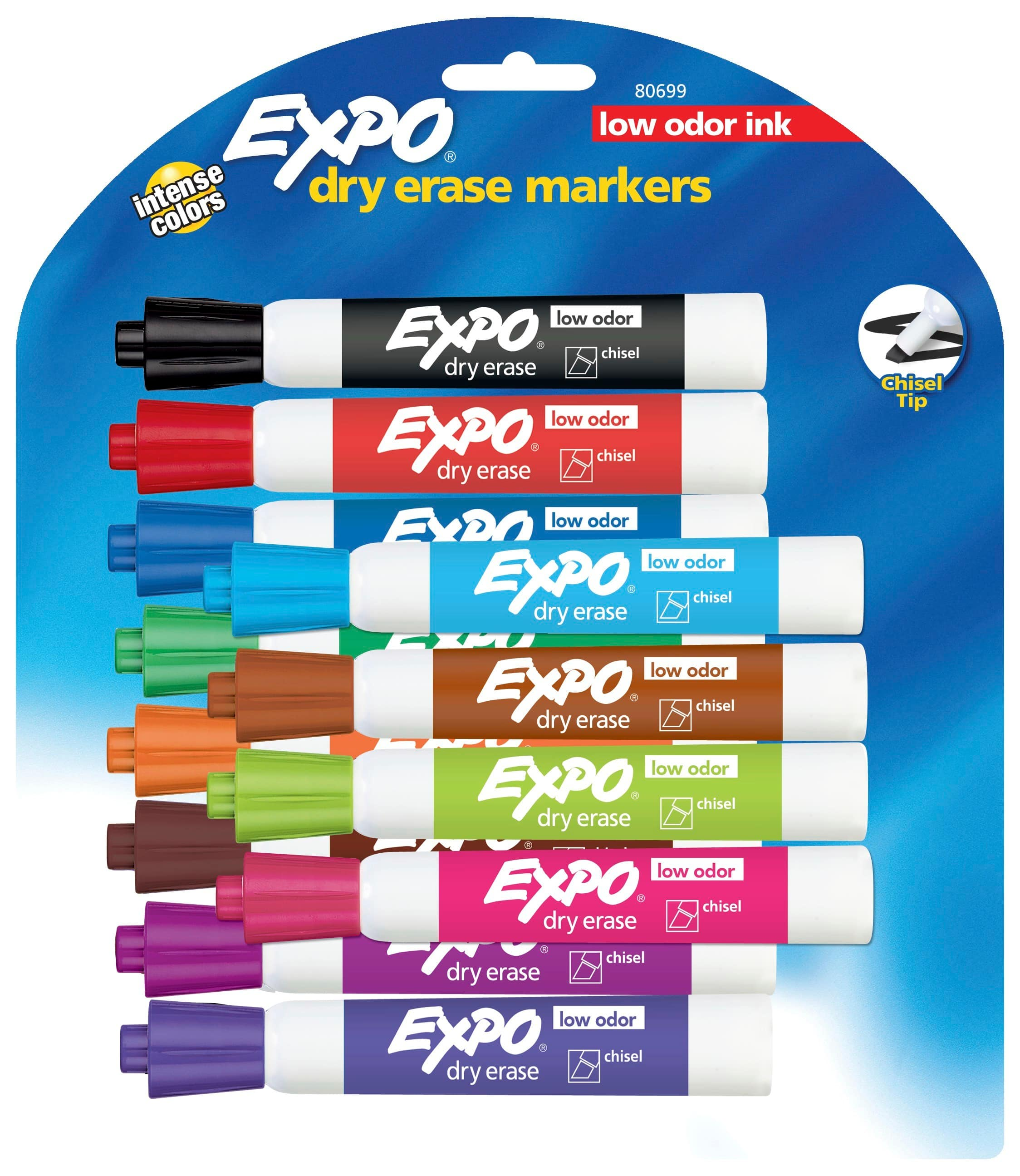 12-Ct Expo Low Odor Chisel Tip Dry Erase Markers (Assorted Colors)