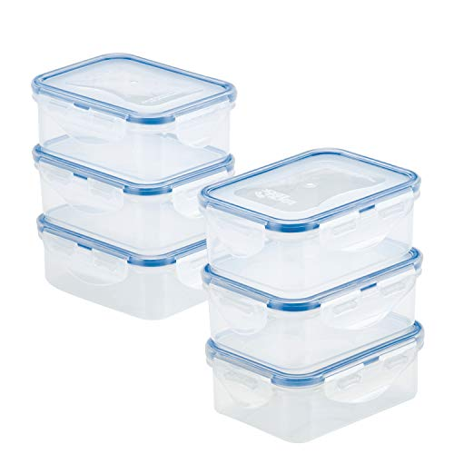 Lock & Lock HPL806S6 Easy Essentials Storage Food Storage Container Set / Food Storage Bin Set - 6 Piece, Clear