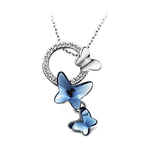 美丽精致的施华洛世奇水晶蝴蝶吊坠项链