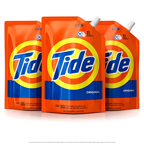 Tide Smart Pouch Original Scent HE Turbo Clean Liquid Laundry Detergent, Pack of three 48 oz. pouches, 93 loads