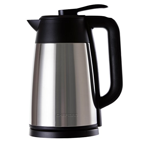 Chefman Cordless Electric Kettle, Stainless Steel Premium Grade Carafe Style w/Digital Temp Display, Heat Retaining Vacuum Seal, Auto Shut Off & Boil Dry Protection,. - RJ11-17-DV