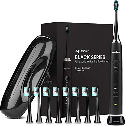 AquaSonic Black Series Ultra Whitening Toothbrush - 8 DuPont Brush Heads & Travel Case Included - Ultra Sonic 40,000 VPM Motor & Wireless Charging - 4 Modes w Smart Timer