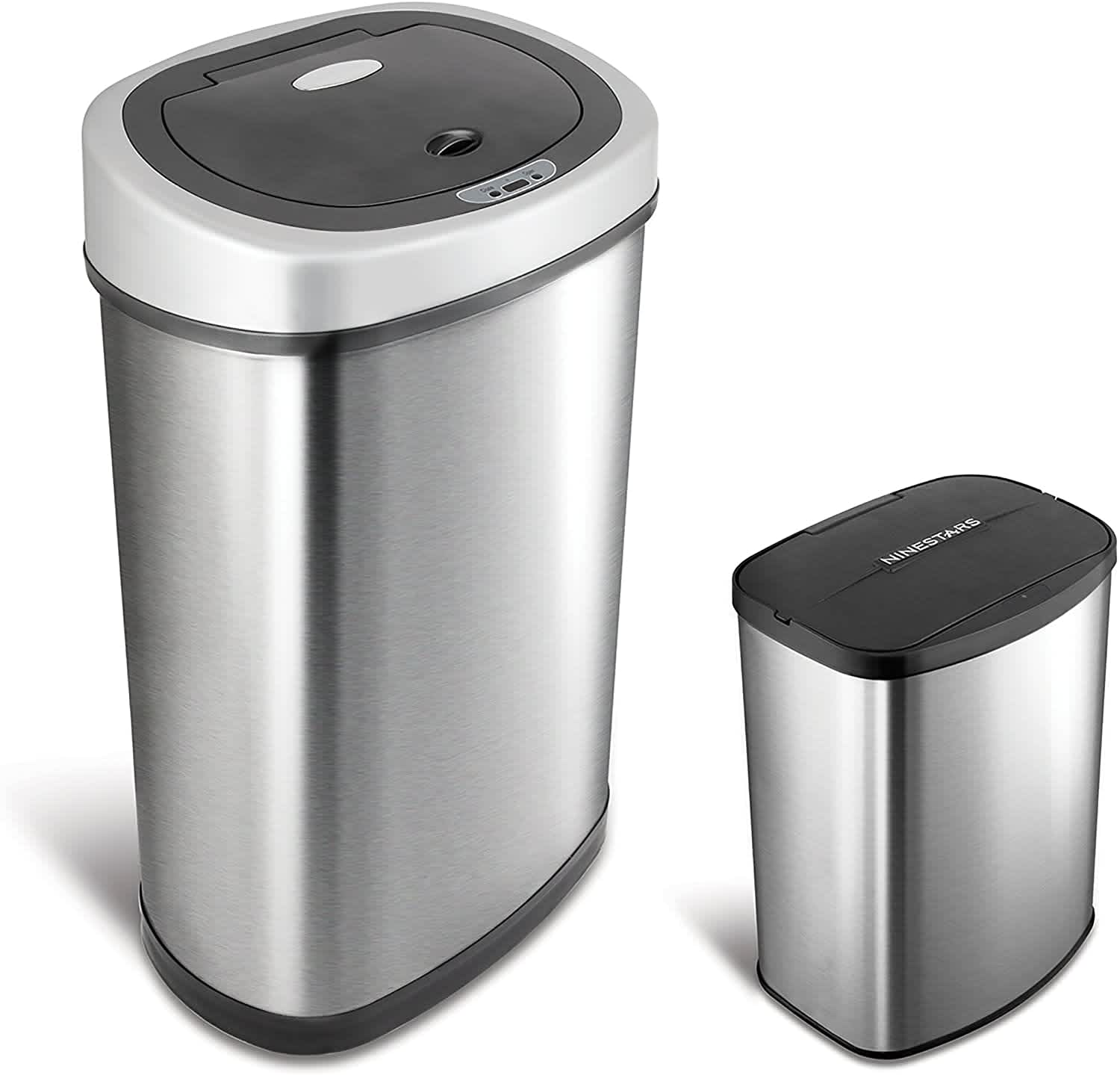 Nine Stars Stainless Steel Sensor 13.2- & 2.1-Gallon Trash Can 2-Pack