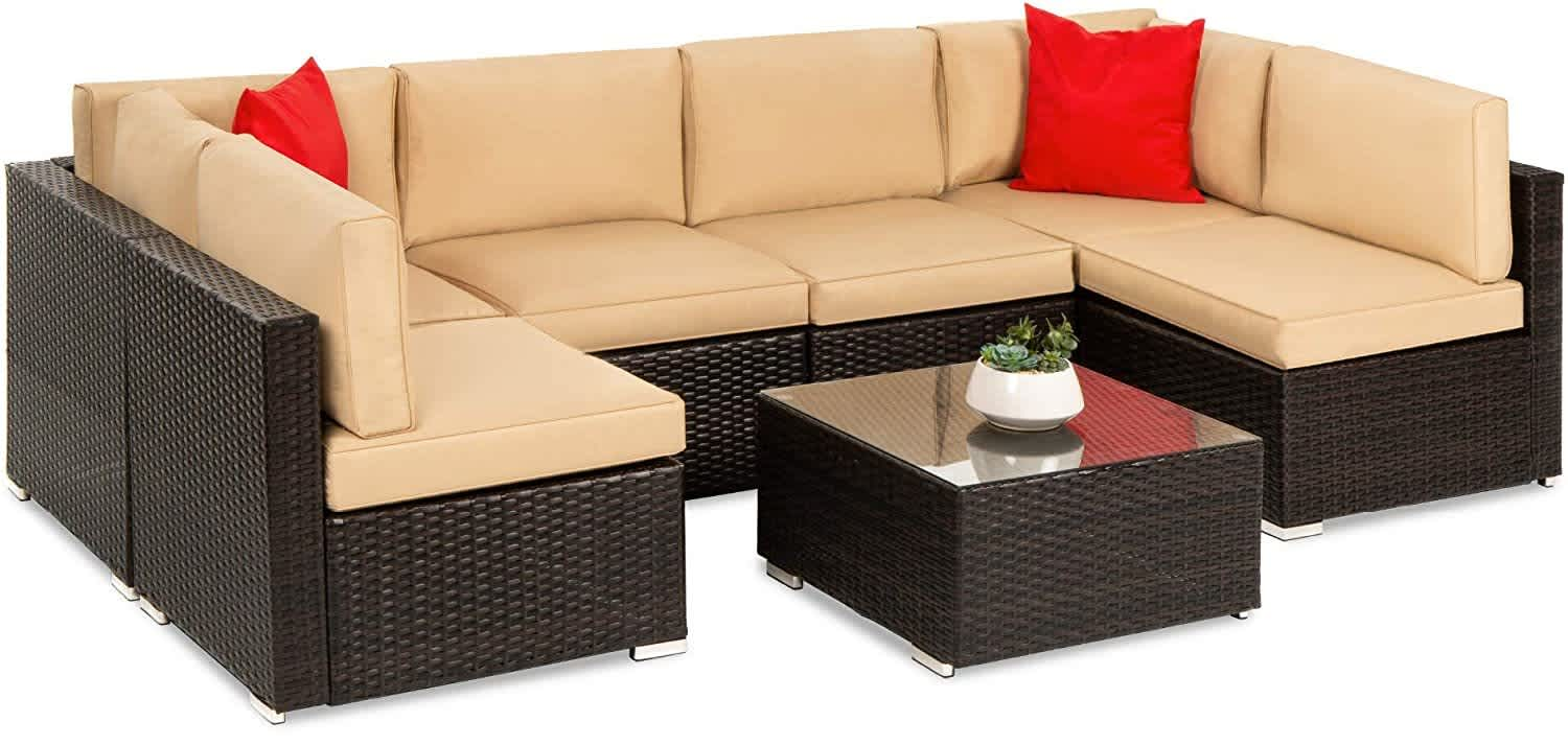 Best Choice 7-Piece Modular Wicker Sectional Conversation Set