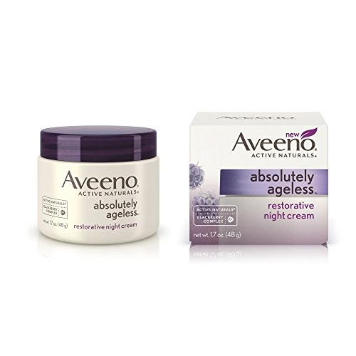 Aveeno Absolutely Ageless Restorative Night Cream Facial Moisturizer with Antioxidant-Rich Blackberry Complex, Vitamin C & E, Hypoallergenic, Non-Greasy & Non-Comedogenic, 1.7 fl. oz