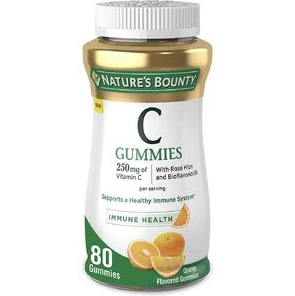 Vitamin C Gummies for adults by Nature's Bounty. Vitamin C is a leading vitamin for immune support.* 250mg of Vitamin C + Rose Hips and bioflavonoids, 80 Gummies