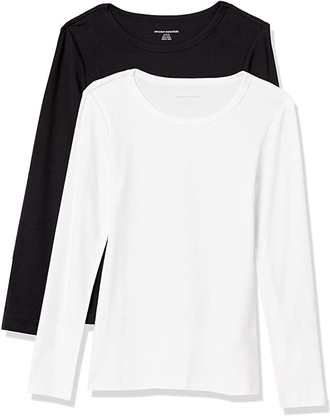 Amazon Essentials 女式修身长袖圆领T恤两件