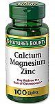 100 Caplets Calcium-Magnesium-Zinc by Nature's Bounty